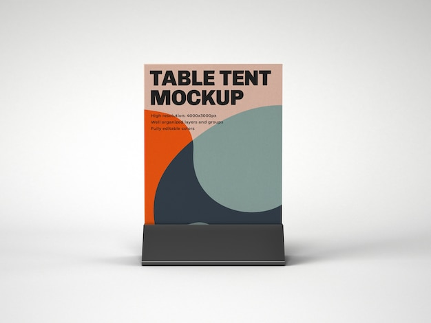 Tafel tent met plastic houder mockup