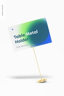 Tafelstandaard metalen bord houder mockup, leunde