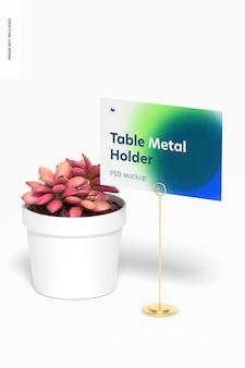 Tafelstandaard metalen bord houder mockup