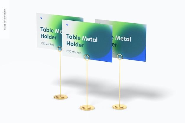 Tafelstandaard metalen bordhouders mockup-set