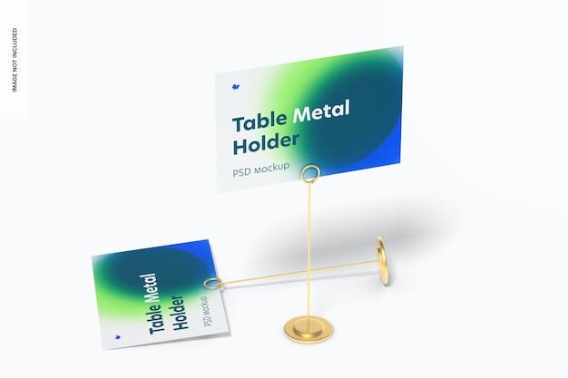 Tafelstandaard metalen bordhouders mockup