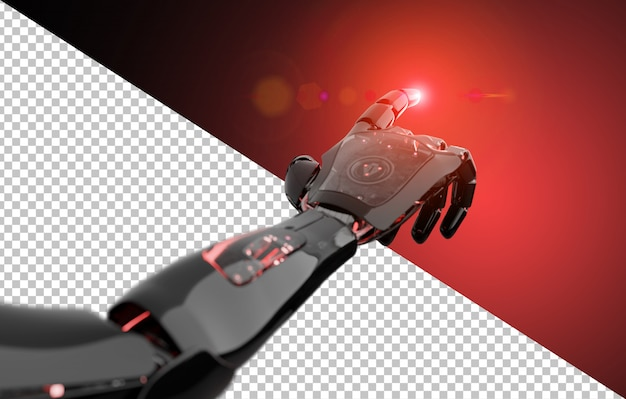 Tagliare il dito puntato robot nero e rosso