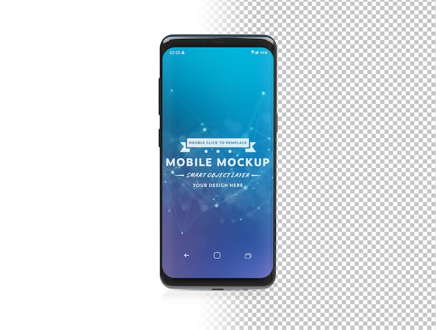 Tagliare uno smartphone moderno con shadow mockup