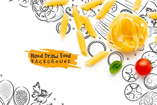 Tagliatelle crude piatte e penne al pomodoro