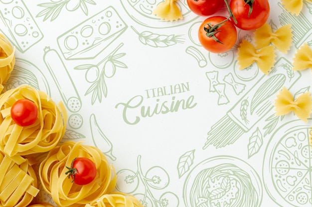 Tagliatelle e pomodori crudi di disposizione piana con fondo disegnato a mano