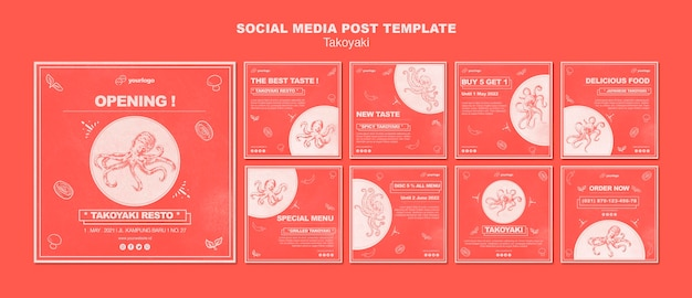 Takoyaki social media postsjabloon