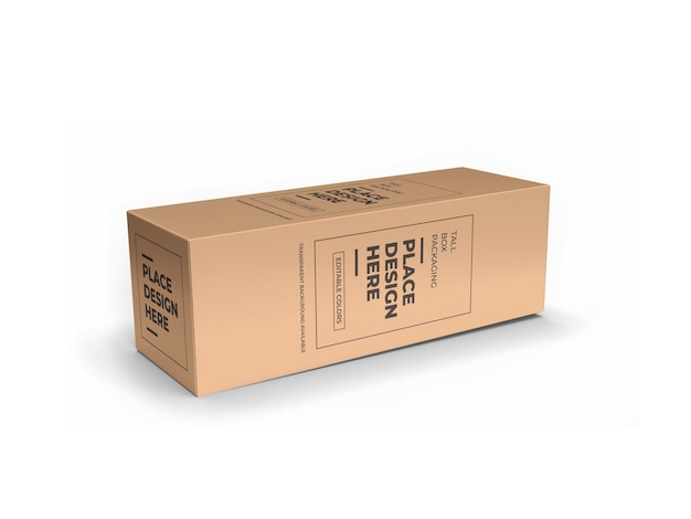 Tall box packaging mockup design geïsoleerd