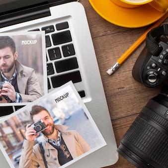Taller de fotógrafos con surtido de maquetas de fotografías