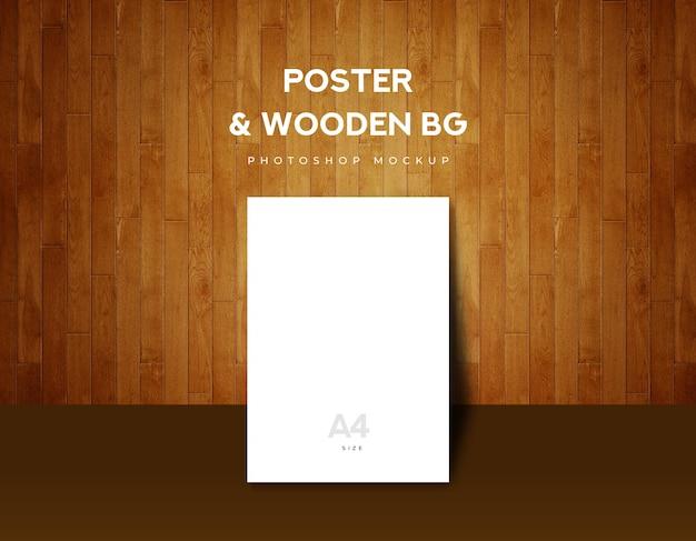 Tamaño del cartel a4 sobre fondo de madera marrón.