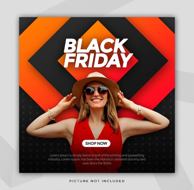 Tamaño cuadrado de banner de venta de viernes negro para instagram