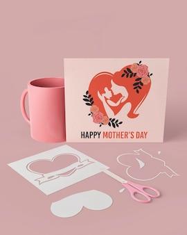 Tarjeta de celebración del día de la madre con maqueta