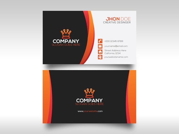 Tarjeta corporativa con detalles en naranja.