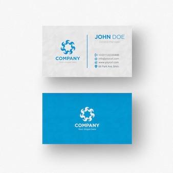 Tarjeta de negocios azul y blanca