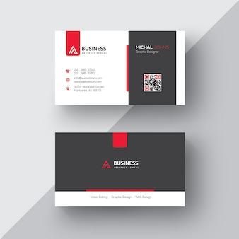 Tarjeta de negocios blanca y negra con detalles rojos