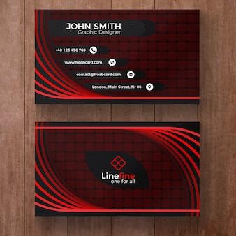 Tarjeta de visita corporativa de color rojo y negro