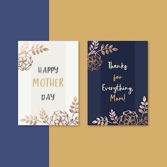 Tarjeta del día de la madre flores elegantes