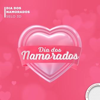 Tarjeta del día de san valentín en brasil 3d render