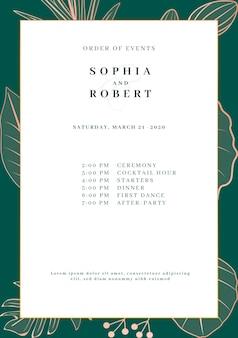 Tarjeta elegante de invitación de boda con concepto de naturaleza