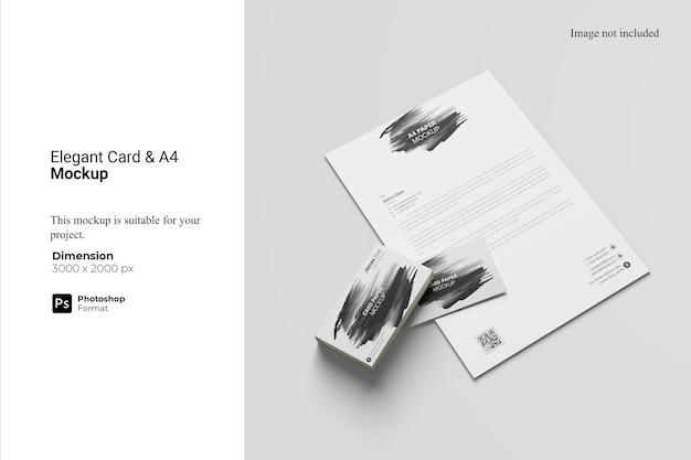 Tarjeta elegante y maqueta de papel a4