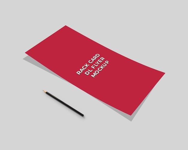 Tarjeta de estante simple dl flyer maqueta con lápiz