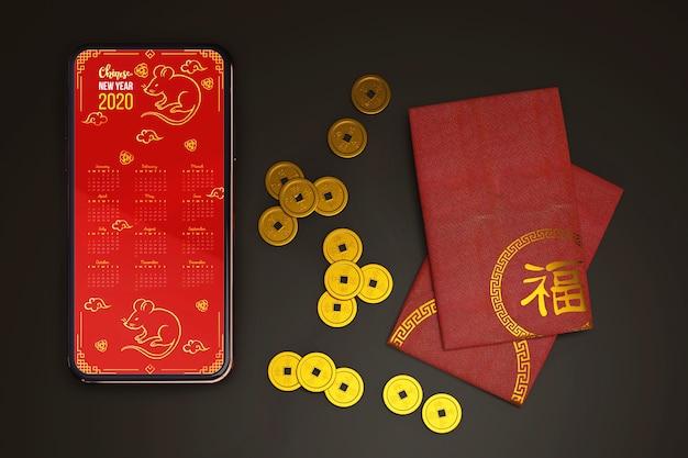 Tarjeta de felicitación de año nuevo chino maqueta