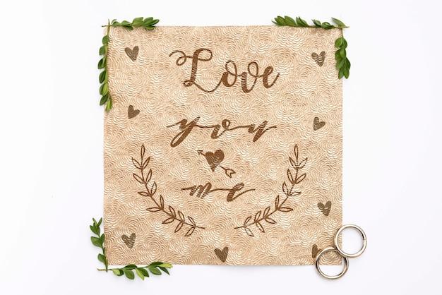 Tarjeta de felicitación con cita de boda