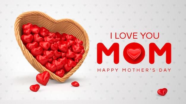 Tarjeta de felicitación del día de las madres con canasta y corazones 3d render