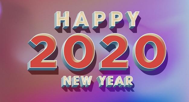 Tarjeta de felicitación de feliz año nuevo 2020 en estilo retro de los 80