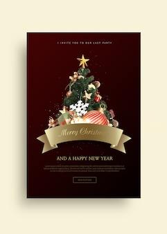 Tarjeta de felicitación de feliz navidad y feliz año nuevo 2020