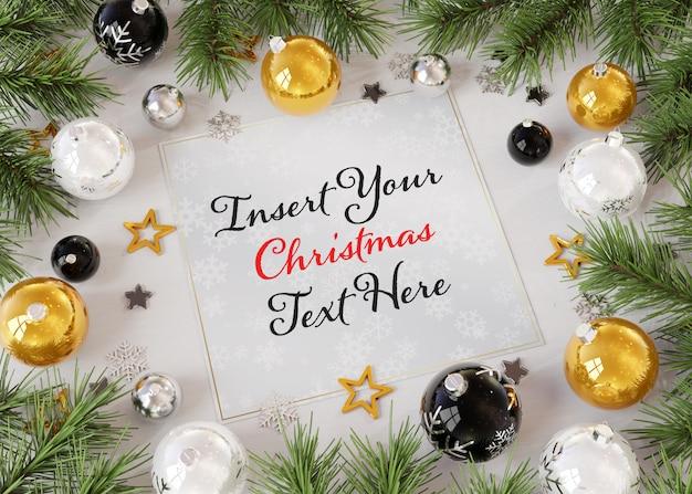 Tarjeta de felicitación de navidad sobre superficie de madera con adornos navideños maqueta