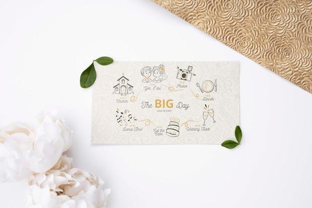 Tarjeta de felicitación plana con boda