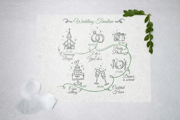 Tarjeta de felicitación de vista superior con boda