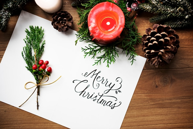 Tarjeta de feliz navidad presente concepto