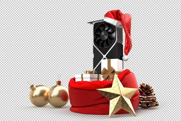 Tarjeta gráfica moderna y saco con regalos de navidad. concepto de tecnología navideña. representación 3d