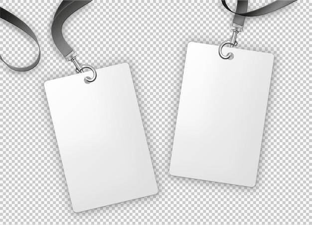 Tarjeta de identidad en blanco con cinta