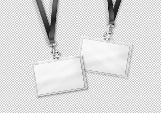 Tarjeta de identificación en blanco con cinta