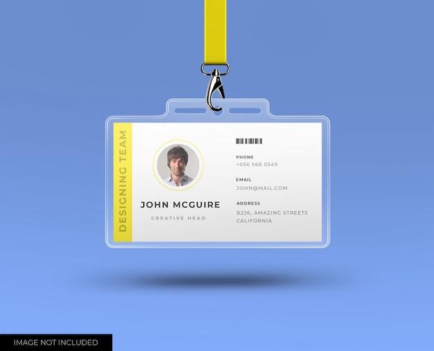 Tarjeta de identificación de oficina corporativa con maqueta