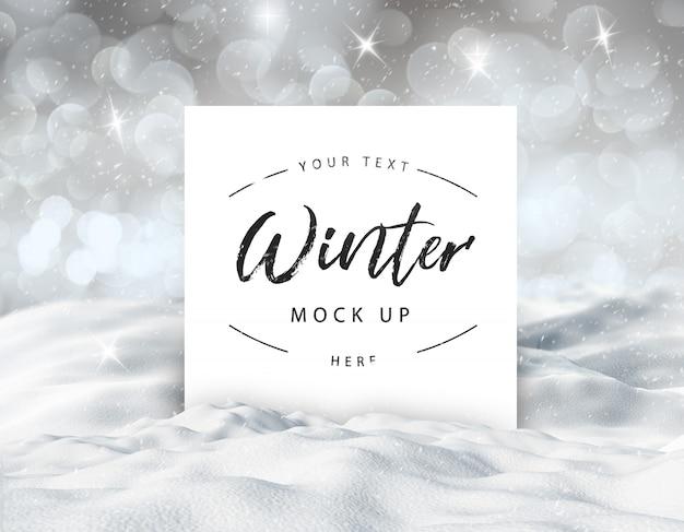 Tarjeta de invierno editable nevado simulacro