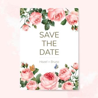 Tarjeta de invitación de boda decorada con rosas.