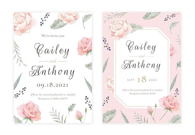 Tarjeta de invitación de boda floral dibujada a mano