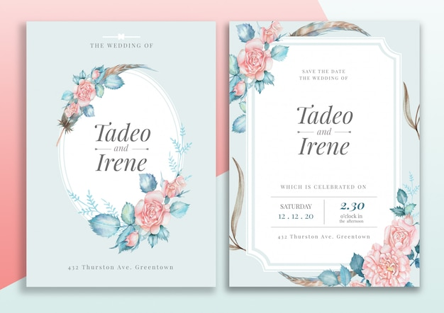 Tarjeta de invitación de boda floral handdrawn