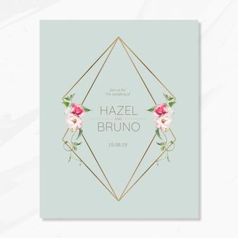 Tarjeta de invitación de boda floral maqueta