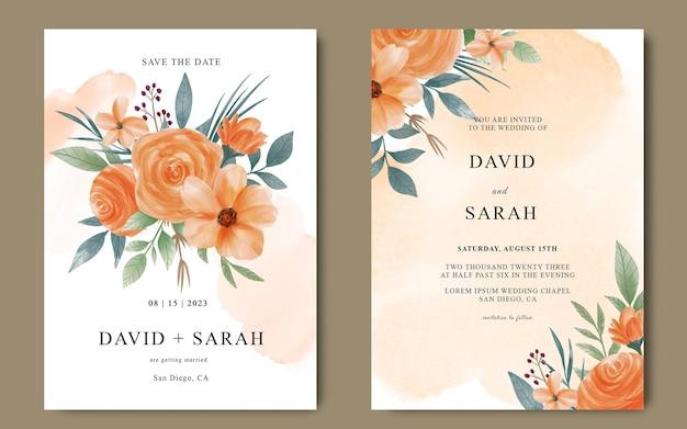 Tarjeta de invitación de boda con flores de color naranja acuarelas