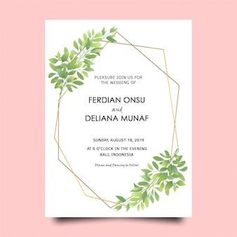 Tarjeta de invitación de boda de marco de hoja verde