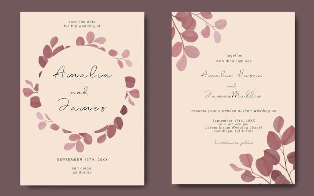 Tarjeta de invitación de boda con plantilla de marco de hoja de eucalipto acuarela