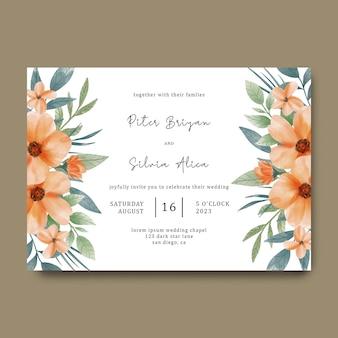 Tarjeta de invitación de boda con ramo de flores de naranja acuarela