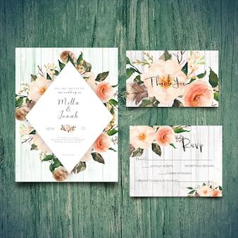 Tarjeta de invitación de boda rsvp y tarjeta de agradecimiento.