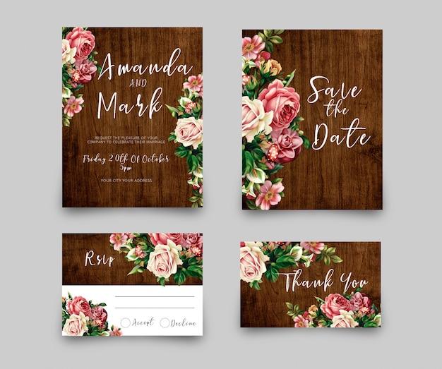 Tarjeta de invitación de boda rsvp