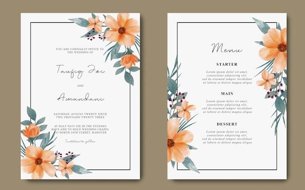 Tarjeta de invitación de boda y tarjeta de menú con flor de naranja acuarela