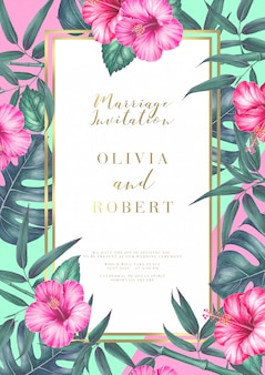 Tarjeta de invitación de boda tropical